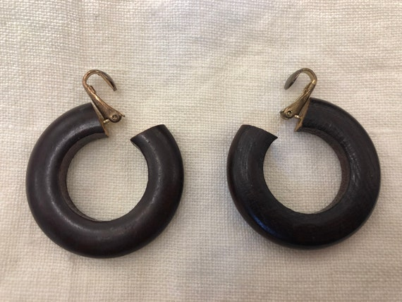 Vintage Wooden Small Small Hoop Clip Earrings