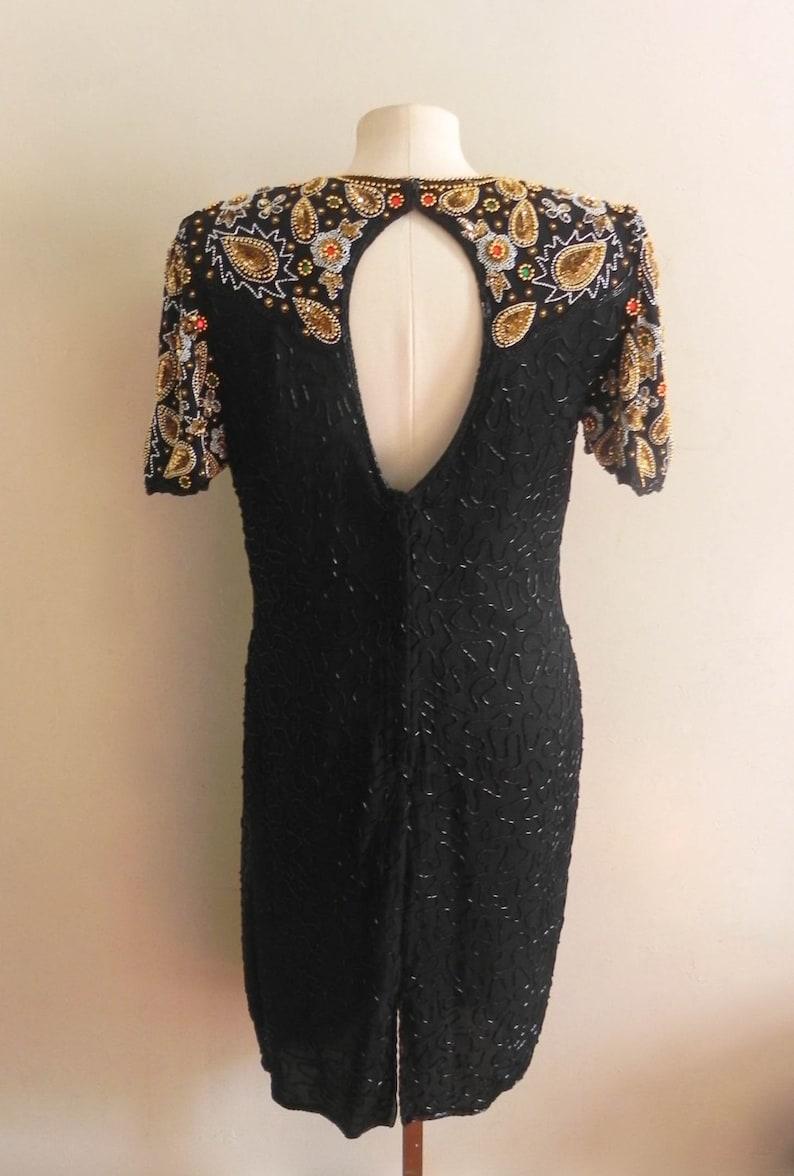 Vintage Womens Beaded Cocktail Dress 80s Designer Black Formal Evening Dress Womens Vintage Party Mother of the Bride Dress