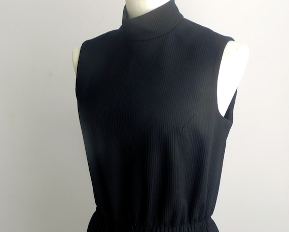 Vintage 60s Women's Maxi Dress Black Minmalist Lon
