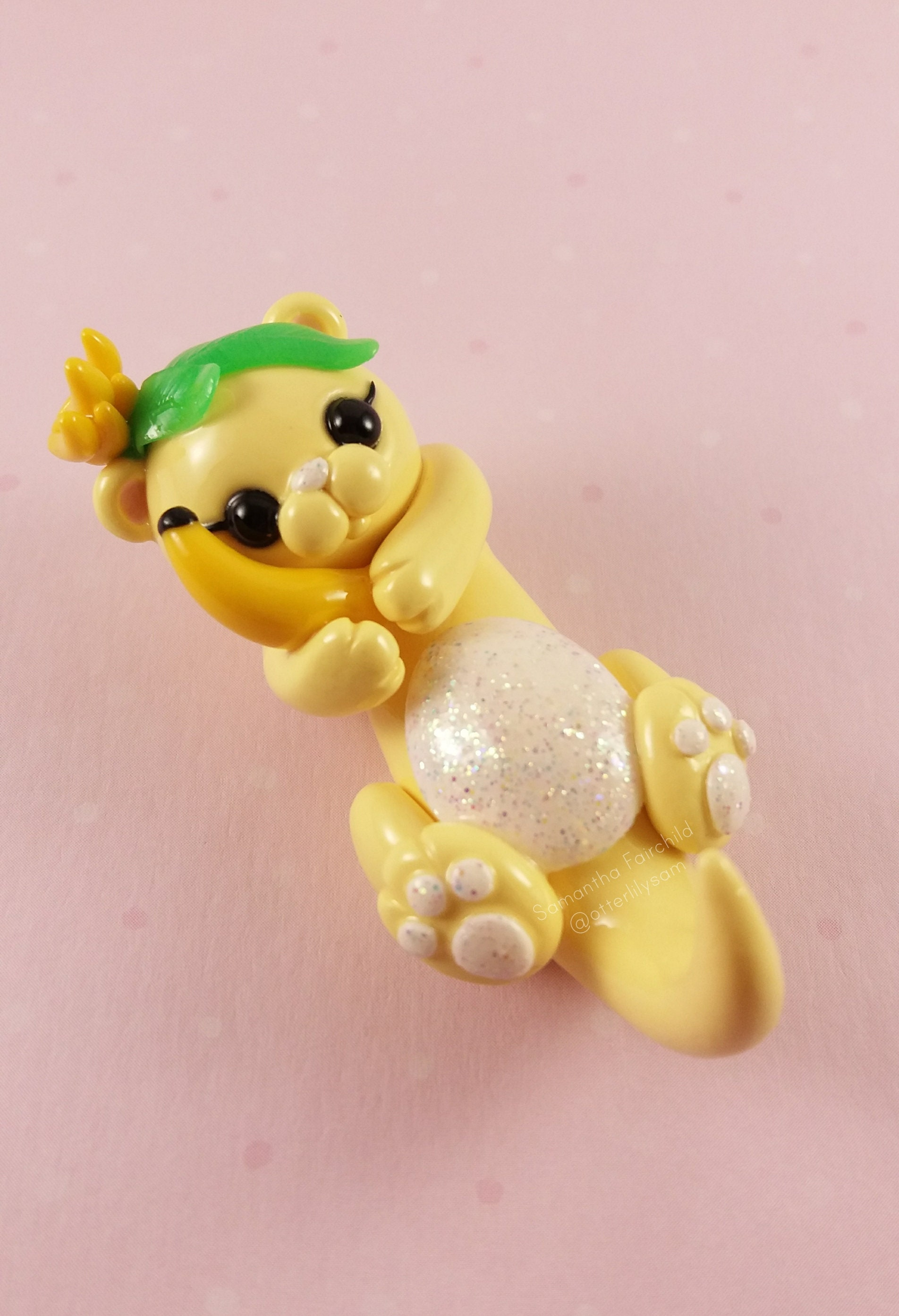 Image of: Miniature 50 Etsy Yellow Banana Otter Figurine Polymer Clay Figurine Animal Etsy