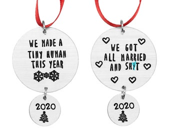 Personalized New Baby Ornament, New Mommy Gifts For Newlyweds Ornament, 2020 Christmas Ornament For New Parents, First Christmas Married