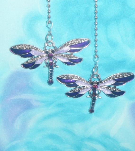 Set Of Two Purple Dragonfly Rhinestone Metal Enamel Etsy
