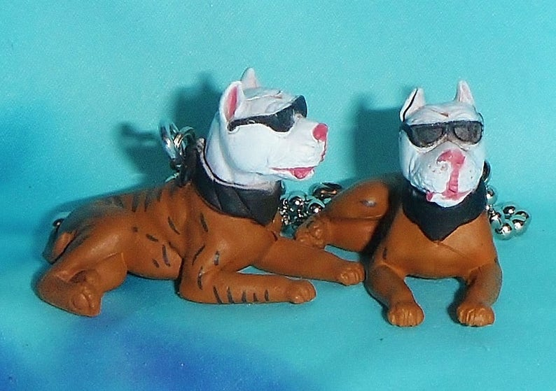 Set of Two ~ White Brindle Pitbull Puppy Dogs - Ceiling Fan Pull Chains  Great Gifts!!! Great Gifts!!!