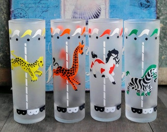 Vintage Libbey Animal Glasses /Tall Frosted Merry-Go-Round Animal Drinking Glassware / Vintage Barware / Vintage Party