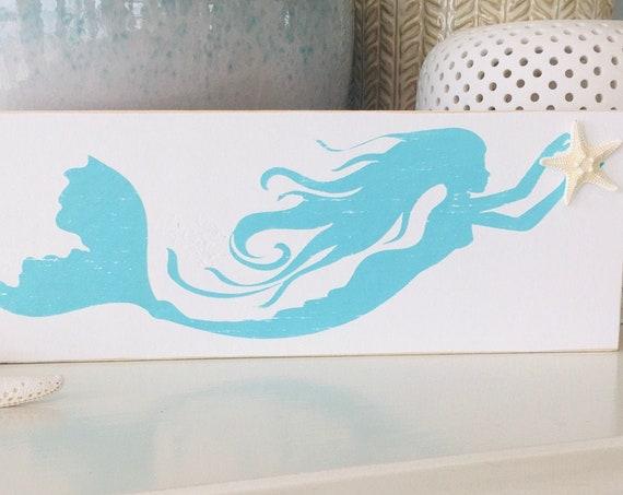 Mermaid Sign With Real Starfish ~ Beach Sign ~ Customize Your Colors ~ Coastal ~ Beach House ~ Kids Room ~ Nursery