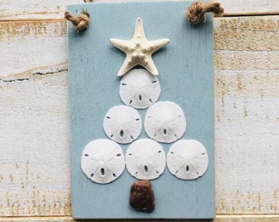 Christmas Tree Shell Sand Dollar Starfish Shell Ornament ~ Coastal Christmas Gift ~ Teachers Gift ~  Holiday Decor ~ Coastal ~ Beach ~ Shore