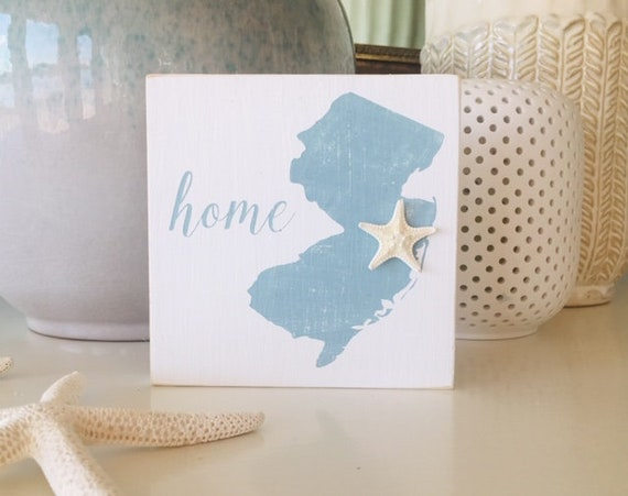 New Jersey State Home Beach Wood Sign With Real Starfish ~ NJ State Silhouette ~ Jersey Shore Art  ~ Shelf Sitter Sign