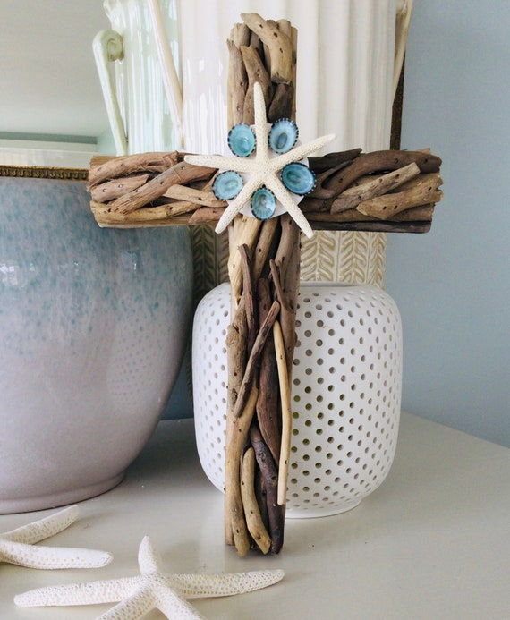 Driftwood Wall Wood Shell Cross ~ Embellished Wood Baptism First Communion Gift Boy Godparent Confirmation Nursery New Baby Rustic Easter
