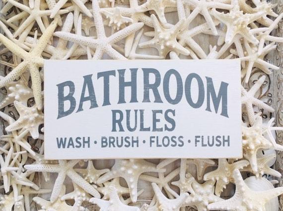 Bathroom Wood Sign ~ Bathroom Rules Wall Decor ~ Flush ~ Brush ~ Floss ~ Wash ~ Guest Bathroom Kids
