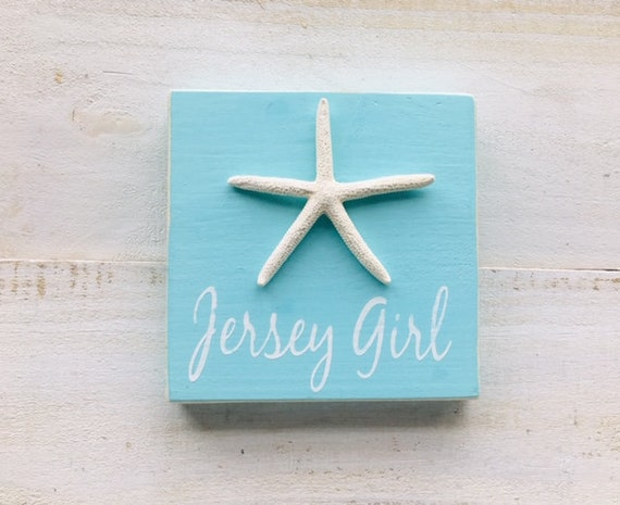 """Jersey Girl 5.5"""" x 5.5"""" Beach Wood Sign With Real Starfish"""