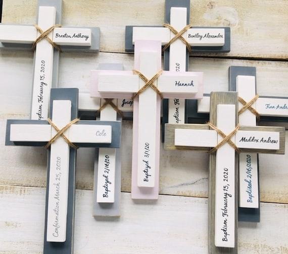 Wood Wall Cross ~ Personalized Custom Baptism First Communion Gift ~ Baby Room Nursery Decor ~ Confirmation ~ Birthday ~ Boy Girl ~ Rustic
