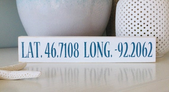Coordinate Town Custom Wood Sign ~ Customize Your Colors! Latitude and Longitude Sign
