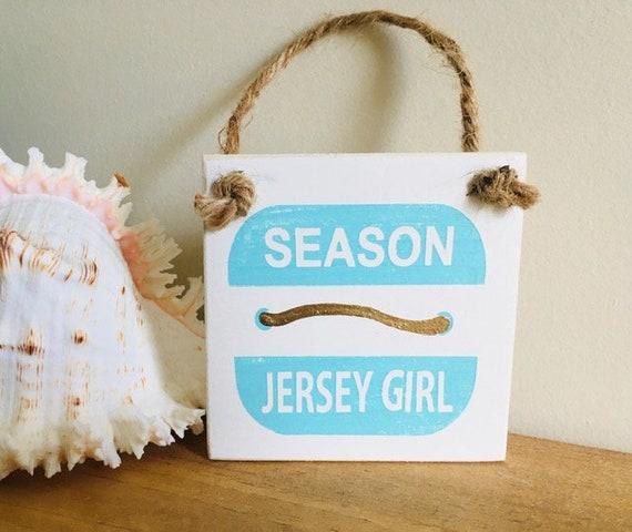 "Jersey Girl 4""x4"" Beach Badge Ornament ~ Stocking Stuffer New Jersey Coastal Christmas Decor"