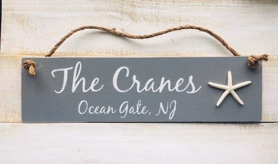 Custom Family Name Wood Sign ~Coastal Beach Wedding, Bridal Shower, Anniversary, Birthday Gift Personalized Beach House Home Decor