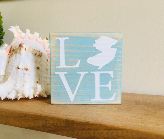 New Jersey Love Sign ~ Jersey Shore Wood Sign ~ Ready To Ship! ~ Tiered Tray Decor ~ Mini Sign ~ Shelf Sitter ~ Down The Shore ~ NJ