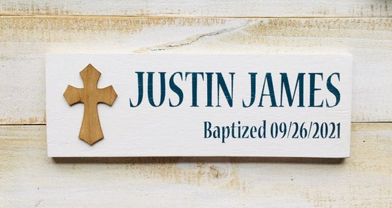Wood Wall Cross Sign With Personalized Name Date and Occasion ~ Religious Gift ~ Baptism Christening First Communion Confirmation Crucifix