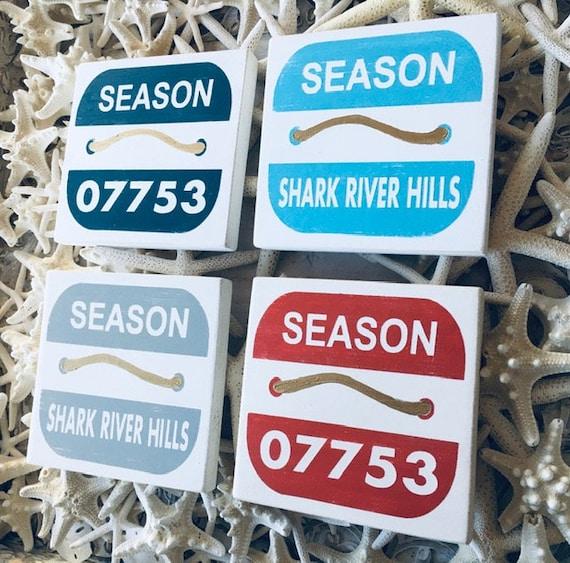 Beach Badge Sign ~ Custom Town Or Zip Code Wood Sign ~ Shelf Sitter ~ Shore Town ~ New Jersey