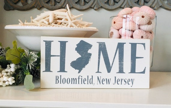 """New Jersey State Beach Wood Sign ~ NJ State Home Silhouette With Custom Town 12"""" x 5.5"""" ~ Personalized Sign ~ Housewarming ~ Closing Gift"""