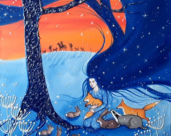 The Protection of Night Print - Large print - Goddess Art - Anti Fox Hunting