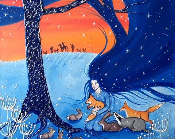 The Protection of Night Print - Large print - Goddess Art - Anti Fox Hunting