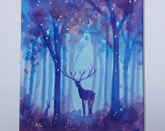 Mystical Forest - Original Ethereal Watercolour - Stag - Pagan - Spiritual Art