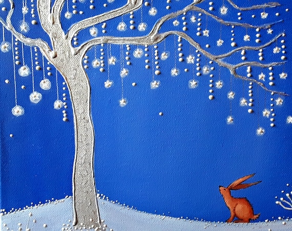Brown Hare and the Star Tree High Quality Art Print