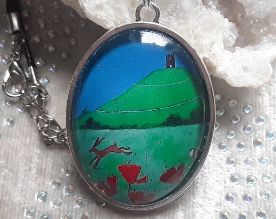 Summer Tor Cabochon Necklace - Glastonbury Tor - Avalon - Hare Necklace - Wicca - Pagan - Mystical pendant