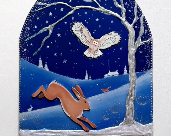 Winters Night - Hanging Wooden Hare and Owl decorative panel with embellishments
