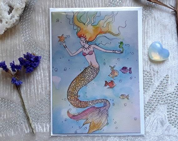Mermaid art card - Mermaid Art - Mermaid gifts