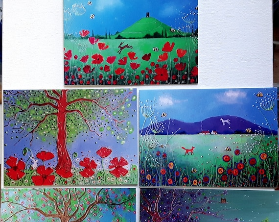 The Summer Poppy Collection - Set of five cards - Poppy Cards - Summer