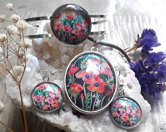 Poppy Jewellery Set - Poppy Pendant - Poppy Earrings - Poppy Bangle - Poppy Art