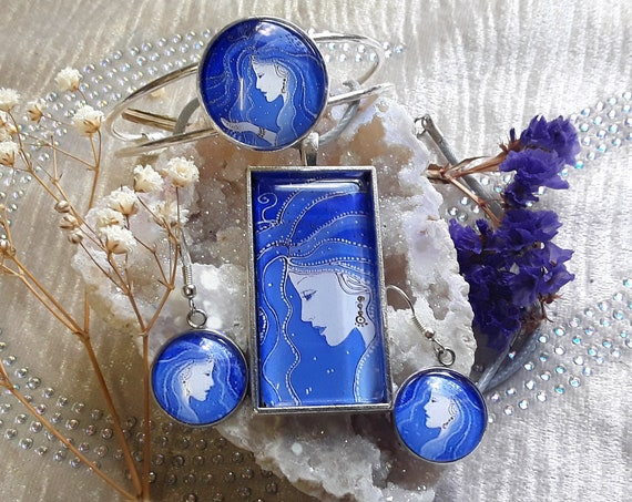 Night Goddess Jewellery Set - Goddess Pendant - Goddess Bangle - Goddess Earrings - Pagan - Wicca