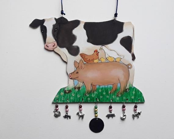 Vegan Art - Friends not Food - Wall hanging - Cow Art - Pig Art