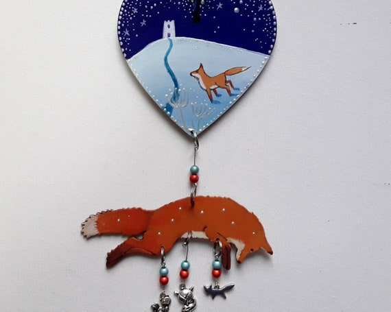 Winter Tor and Fox hanging wooden decoration with beads and charms