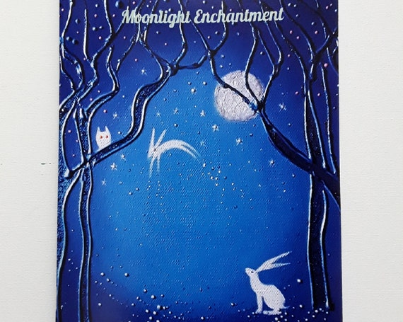 Notebook. Art Journal. White Hare and Moon. A5/C5 size. 48 plain pages by Angie Livingstone