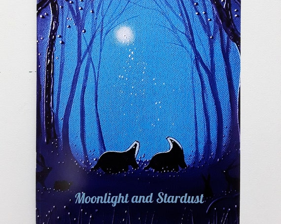 Notebook. Art Journal. Arty Gifts. Badgers and Moon. A5/C5 size. 48 Plain pages by Angie Livingstone