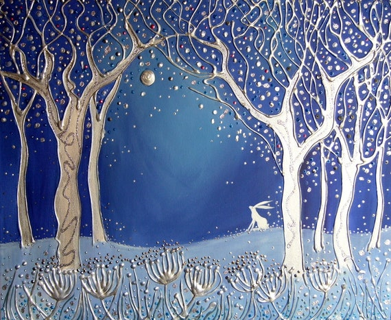 Moongazing Hare - High quality A4 art print