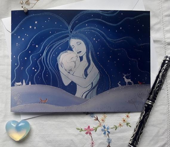 Moon Goddess Card - Night Goddess Art - Hare Moon - Pagan - Mystical - Wiccan