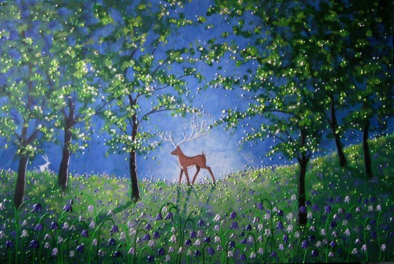 Stag Art - Bluebell Wood - Stag in Spring - Stag Print