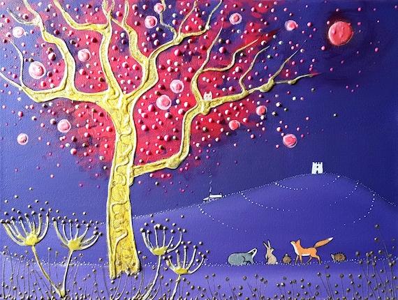 Mystical Tor - Blood Moon - Glastonbury Tor - Mystical Art - Pagan - Wiccan