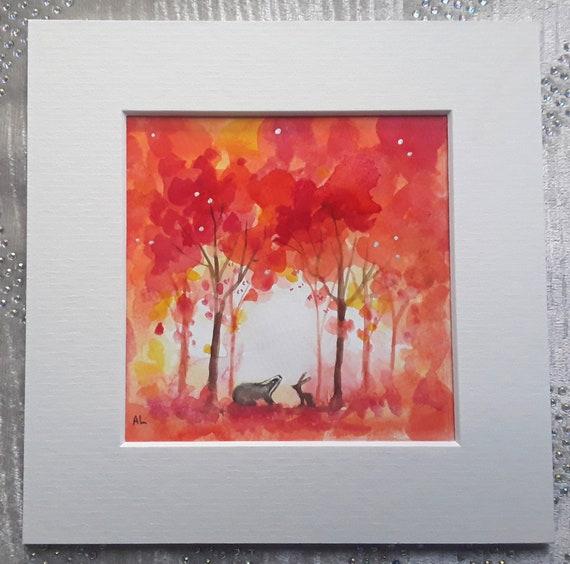 Badger Art - Badger Watercolour - Autumn - Fall - Mystical