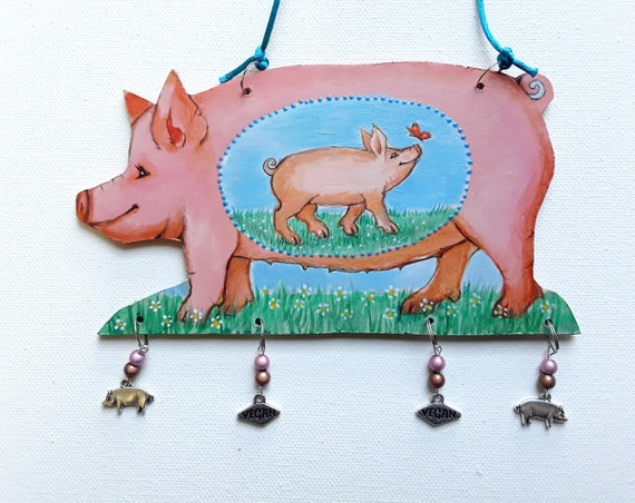Pig Wall hanging - Pig Art - Piglet - Wall hanging