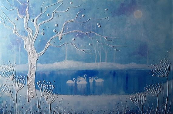 Winter Swan Print - Winter Pool - Swan Art - Winter Snow Landscape