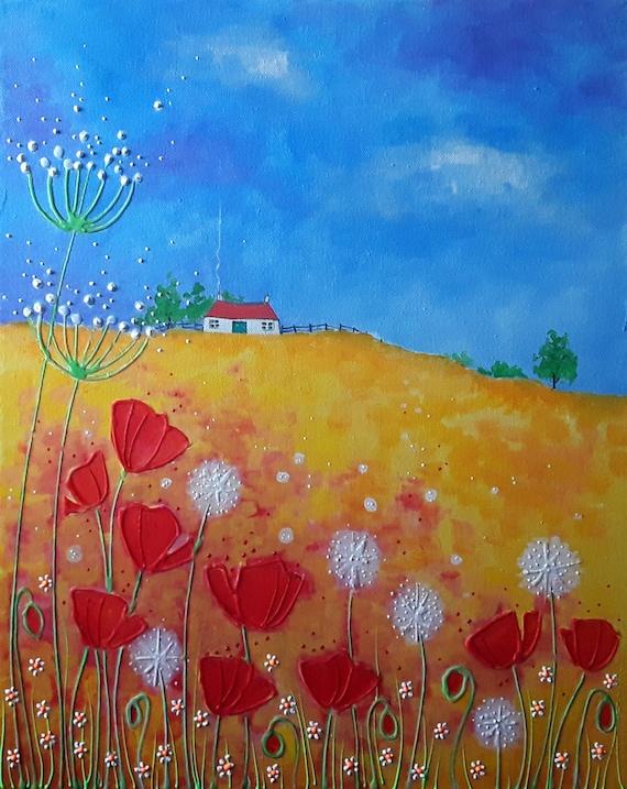 Poppies and Dandelions - Summer art - Poppy Art - Wild poppies