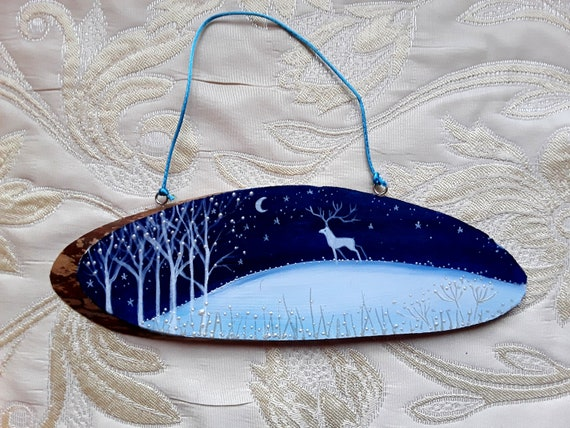 Winter Stag - Hand painted hanging wooden decoration