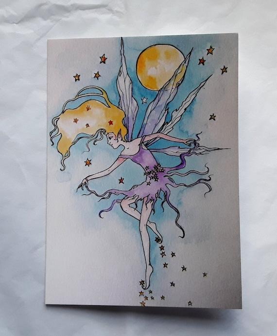 Dancing Moon fairy - High quality blank art card.