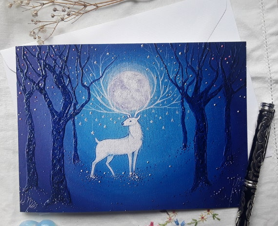 Mystical Stag card - White Hart - White Stag - Stag and Moon - Pagan - Wiccan