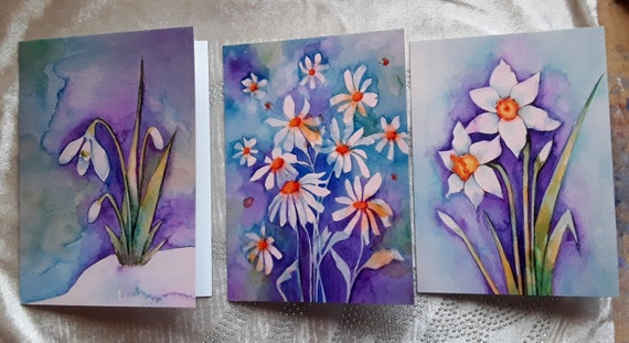 The Spring Flower Collection - Set of three cards featuring my watercolour flower paintings