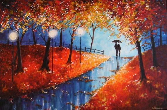 Autumn Evening Rain - Art Card - Romantic - Love