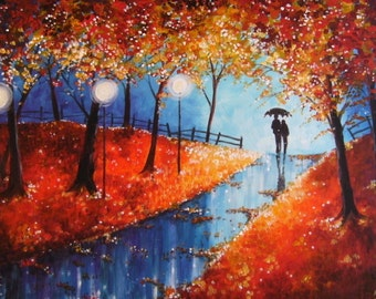Autumn Evening Rain fine art Giclee print